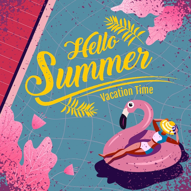 Bonjour lettrage de l'été avec illustration. temps de vacances Vecteur Premium