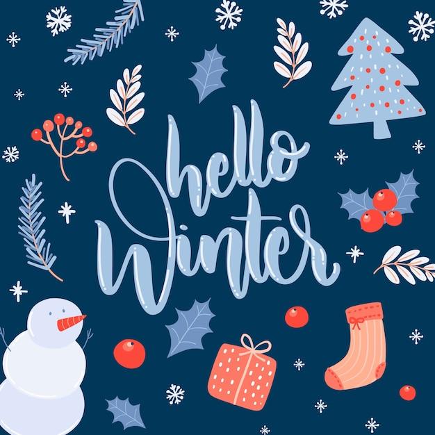 Bonjour Lettrage D'hiver Sur Fond Bleu Foncé Vecteur gratuit