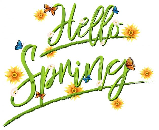 Bonjour lettrage de polices de printemps Vecteur gratuit