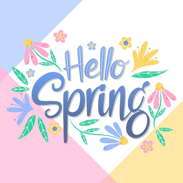 Bonjour Lettrage De Printemps Avec Décoration Florale Vecteur gratuit