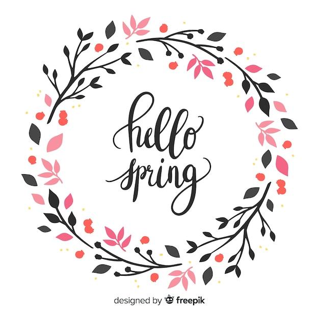 Bonjour lettrage de printemps Vecteur gratuit