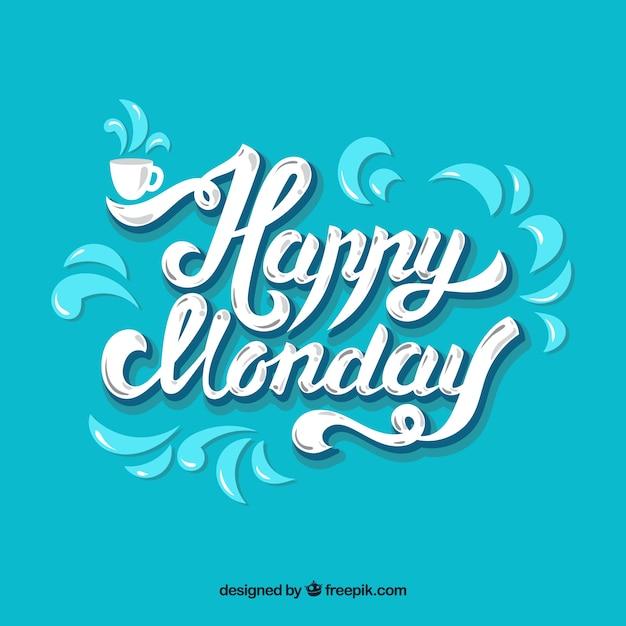 Bonjour lundi, lettres blanches sur fond bleu Vecteur gratuit
