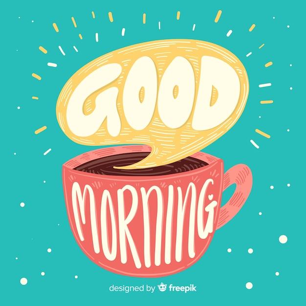 Bonjour matin lettrage style dessiné à la main Vecteur gratuit