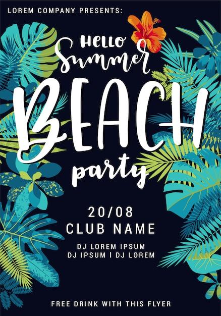 Bonjour modèle d'affiche summer beach party avec de belles feuilles tropicales. Vecteur Premium