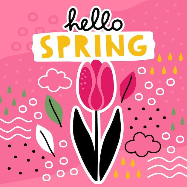 Bonjour modèle dessiné à la main de printemps avec collage de fleurs. Vecteur Premium