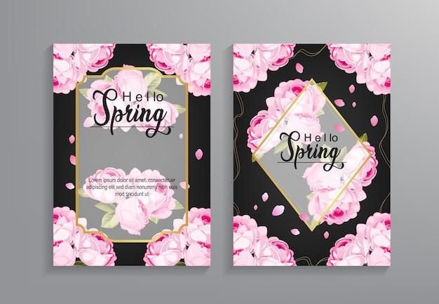 Bonjour modèle de flyer de printemps avec motif de fleurs Vecteur Premium