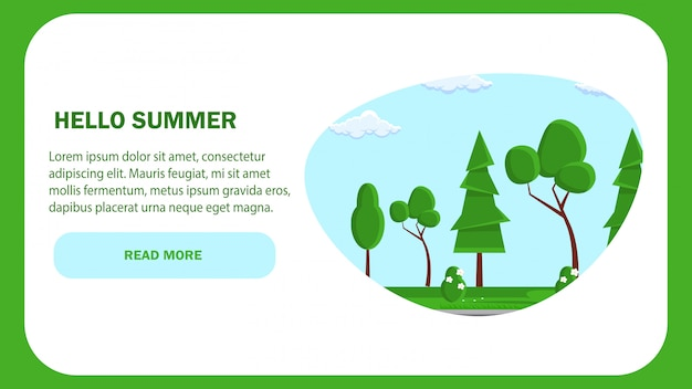 Bonjour Le Modèle De Vecteur De Page Web D'été. La Nature. Vecteur Premium