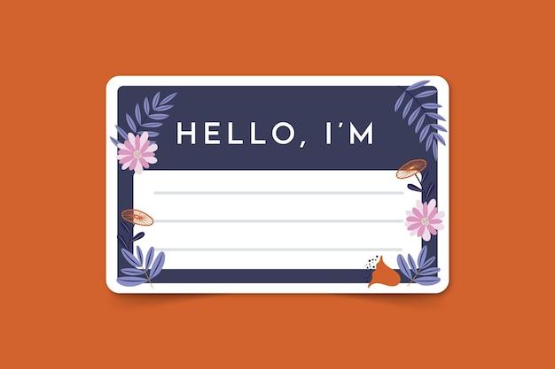 Bonjour Mon Nom Est Un Modele D Etiquette Avec Des Fleurs Vecteur Gratuite