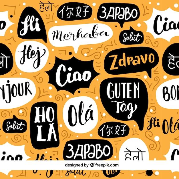 Bonjour motif de mots dans différentes langues Vecteur gratuit