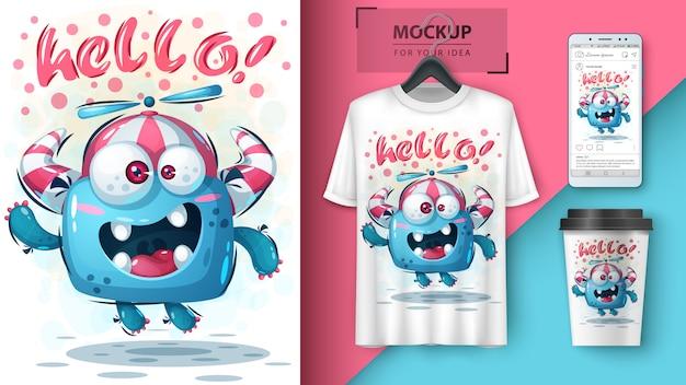 Bonjour mouche affiche de monstre et merchandising Vecteur Premium