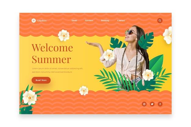 Bonjour La Page De Destination De L'été Vecteur gratuit