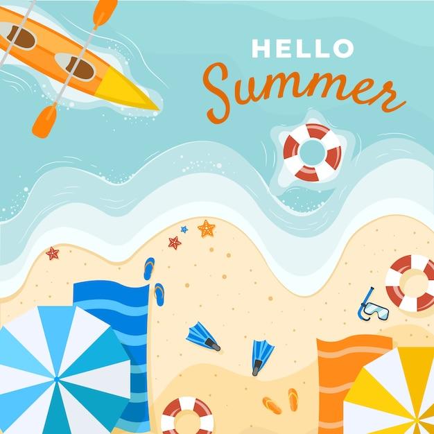 Bonjour Plat Illustration D'été Vecteur gratuit