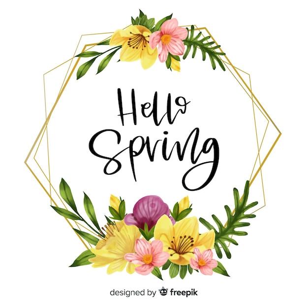 Bonjour printemps cadre avec motif floral Vecteur gratuit