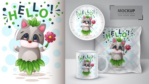 Bonjour raton laveur et merchandising Vecteur Premium