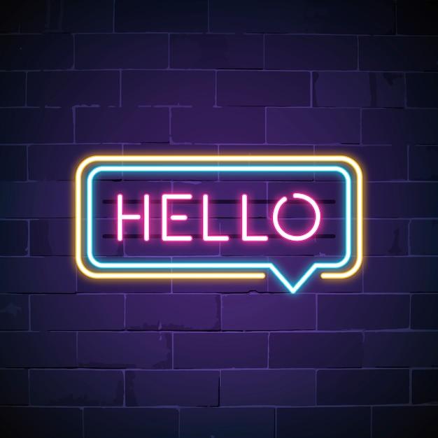 Bonjour rose dans un vecteur de signe de bulle de discours bulle Vecteur gratuit