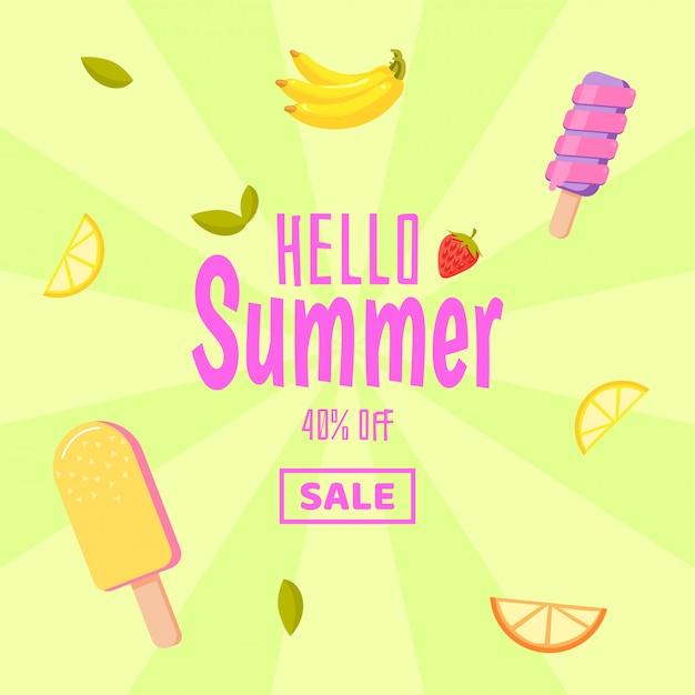 Bonjour Les Soldes D'été. Fond Coloré Avec Glace Et Fruits Vecteur Premium