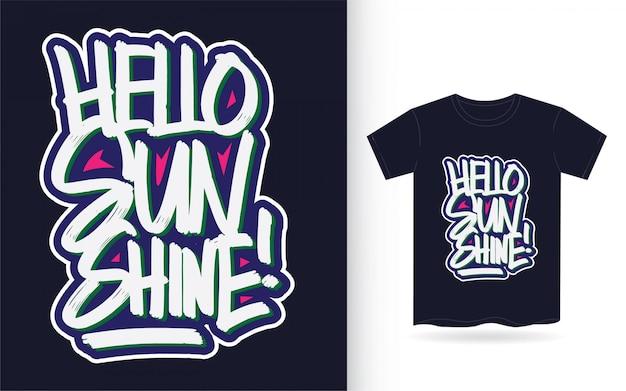 Bonjour Soleil Lettrage à La Main Pour T-shirt Vecteur Premium