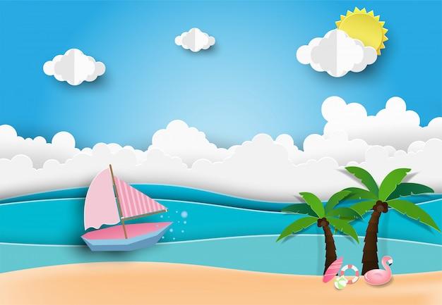 Bonjour summer beach party, style art papier. Vecteur Premium