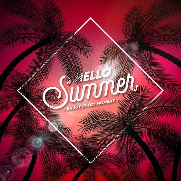 Bonjour summer illustration avec lettre de typographie et palmiers tropicaux Vecteur Premium