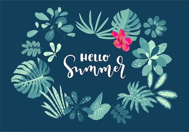 Bonjour Summer Summer Design De Calligraphie été Avec Monstera Vecteur Premium