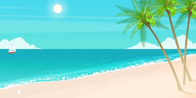 Bonjour vacances d'été, île de la mer. Vecteur Premium