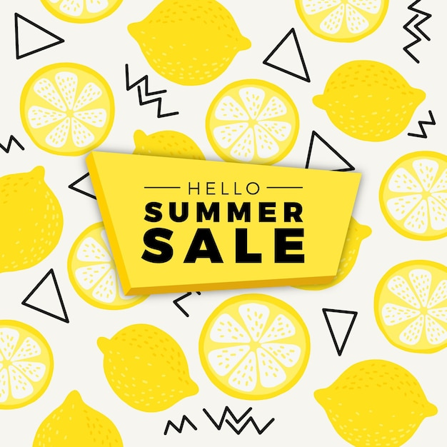Bonjour Vente D'été Aux Citrons Vecteur gratuit