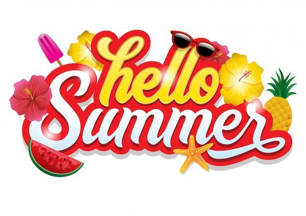 Bonjour les voeux d'été Vecteur Premium