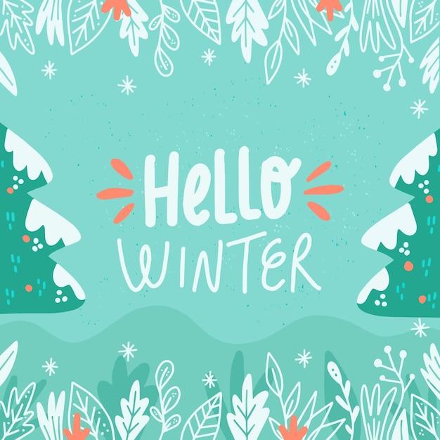Bonjour Voeux D'hiver Sur Fond Illustré Vecteur gratuit