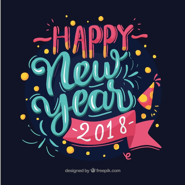 Bonne année 2018 en lettres bleues et roses Vecteur gratuit