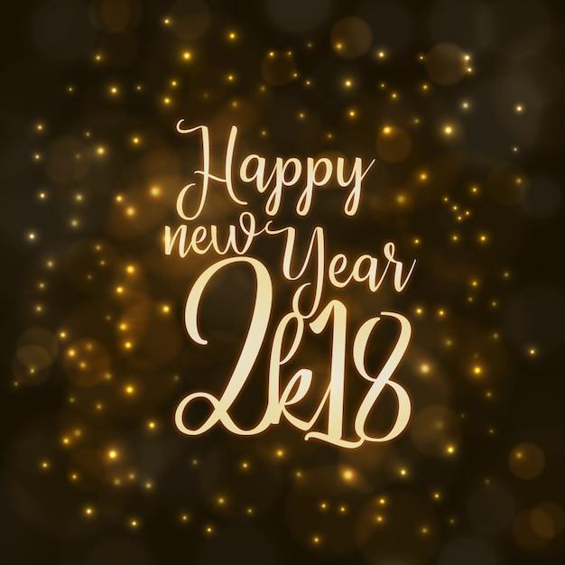 Bonne année 2018 fond avec effet d'éclairage Vecteur gratuit