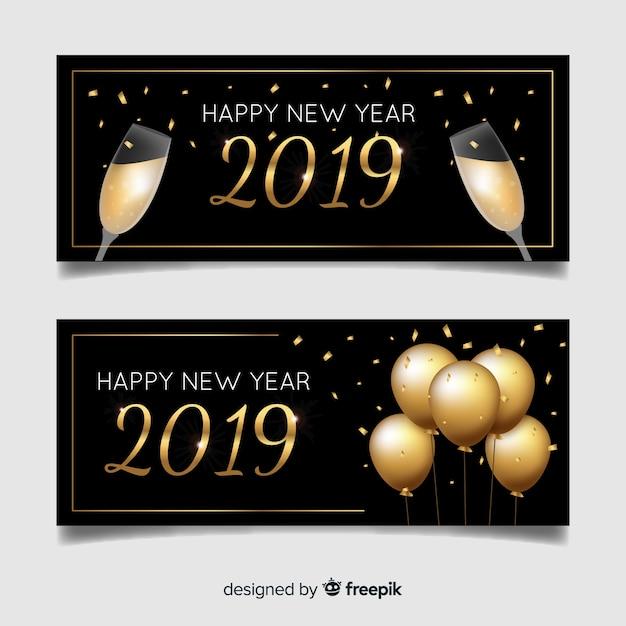 Bonne année 2019 bannières Vecteur gratuit