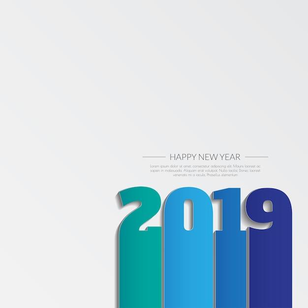Bonne année 2019. carte de voeux. design coloré Vecteur Premium