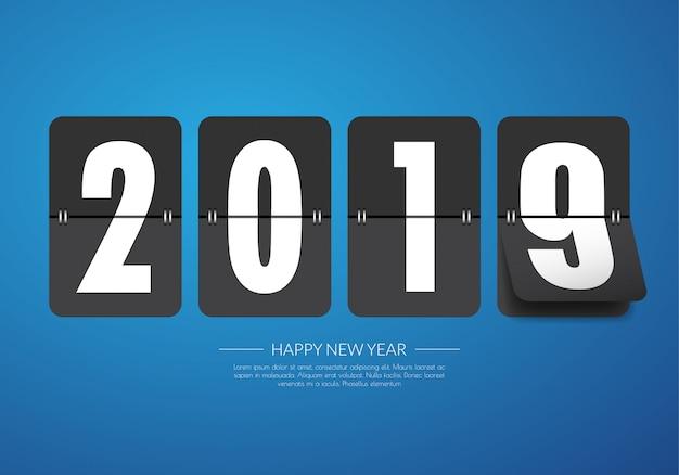 Bonne année 2019. carte de voeux. Vecteur Premium