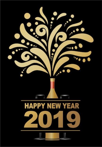 Bonne année 2019, conception de champagne abstraite. Vecteur Premium