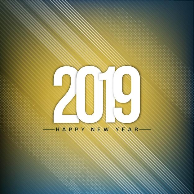 Bonne année 2019 décor moderne fond Vecteur gratuit