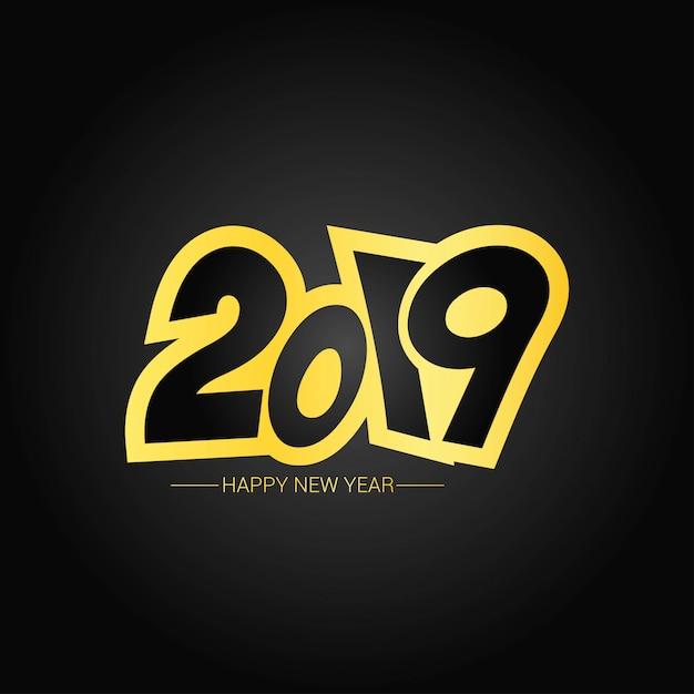 Bonne année 2019 design avec fond sombre Vecteur gratuit