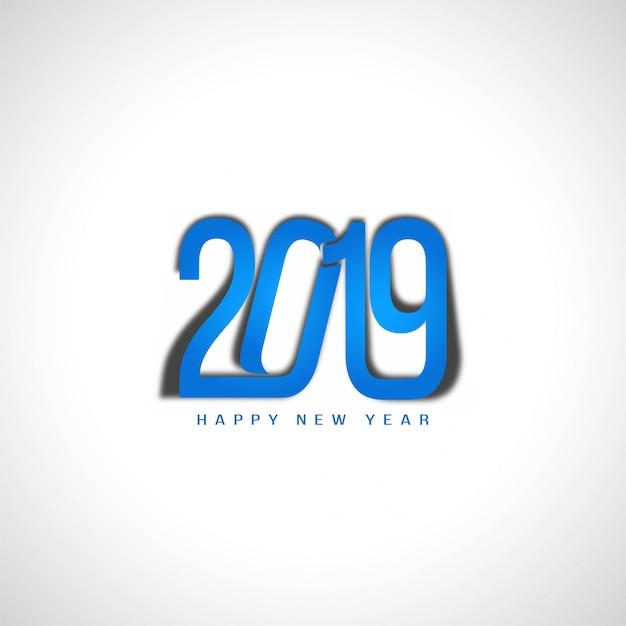 Bonne année 2019 design de texte bleu élégant Vecteur gratuit