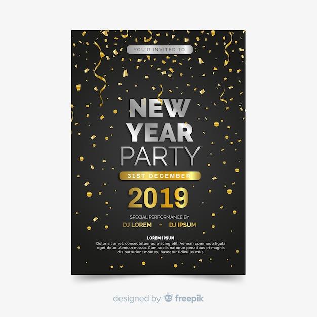Bonne année 2019 flyer du parti Vecteur gratuit