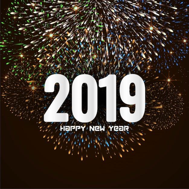 Bonne année 2019 fond de feu d'artifice de salutation élégante Vecteur gratuit