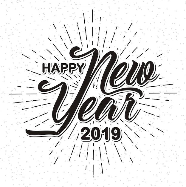 Bonne année 2019 sur fond de sunburst Vecteur Premium