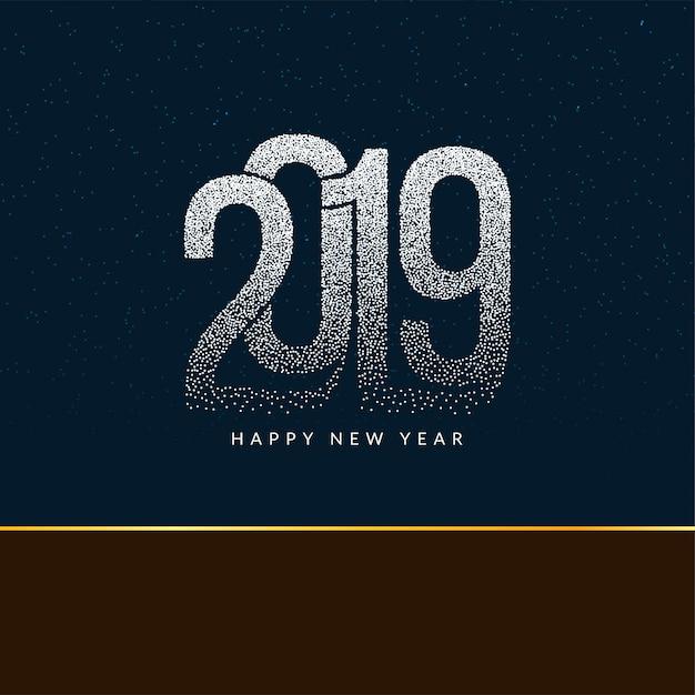 Bonne année 2019 fond de texte en pointillé moderne Vecteur Premium