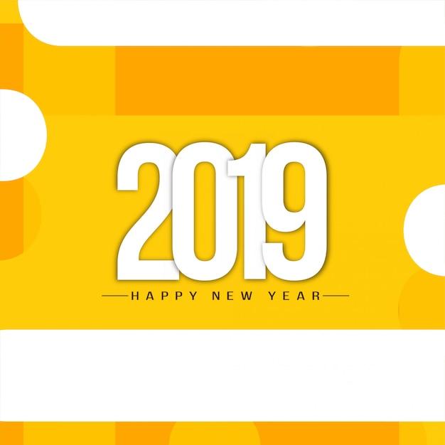 Bonne année 2019 fond de voeux élégant Vecteur gratuit