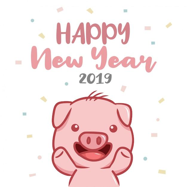 Bonne année 2019 avec personnage de cochon Vecteur Premium
