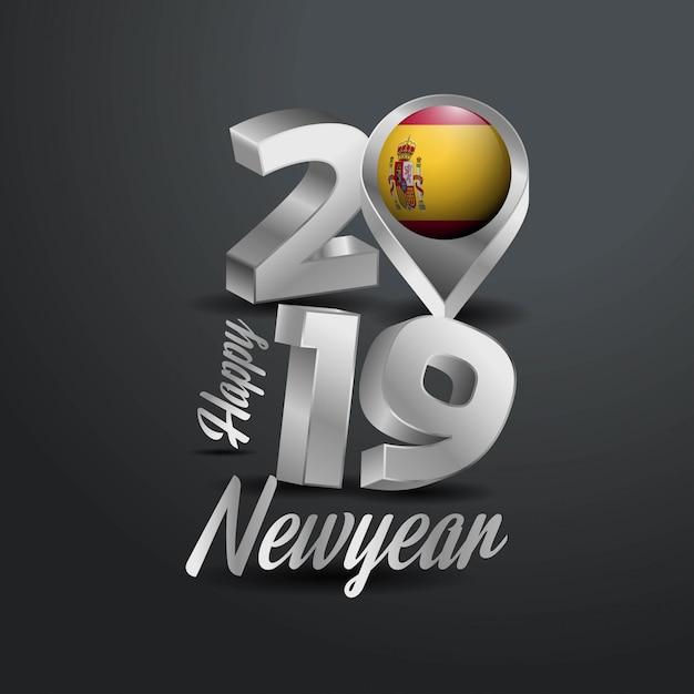 Bonne année 2019 typographie grise Vecteur gratuit