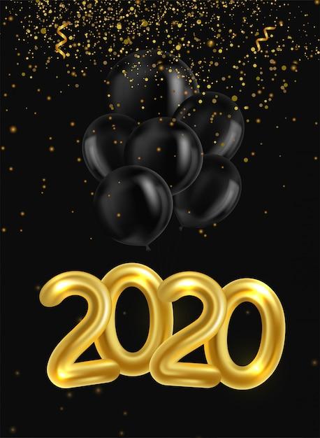 Bonne Année 2020. Affiche Avec Des Ballons Réalistes Dorés Et Noirs Et Serpentine Vecteur Premium
