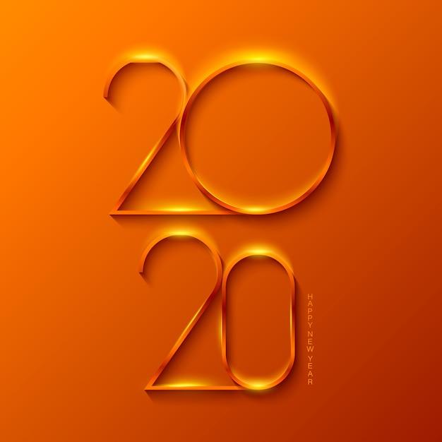 Bonne année 2020 aux couleurs dorées Vecteur Premium