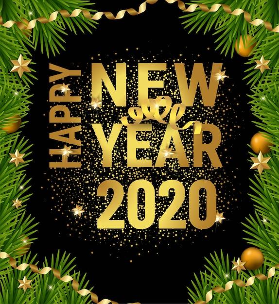 Bonne année 2020 cadre de branches de sapin de noël Vecteur Premium