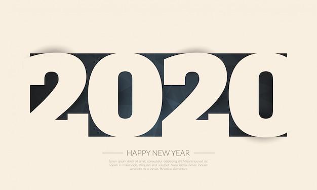 Bonne année 2020. carte de voeux. abstrait Vecteur Premium