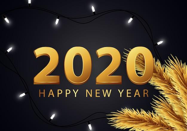Bonne année 2020 carte de voeux avec beau nombre d'or Vecteur Premium
