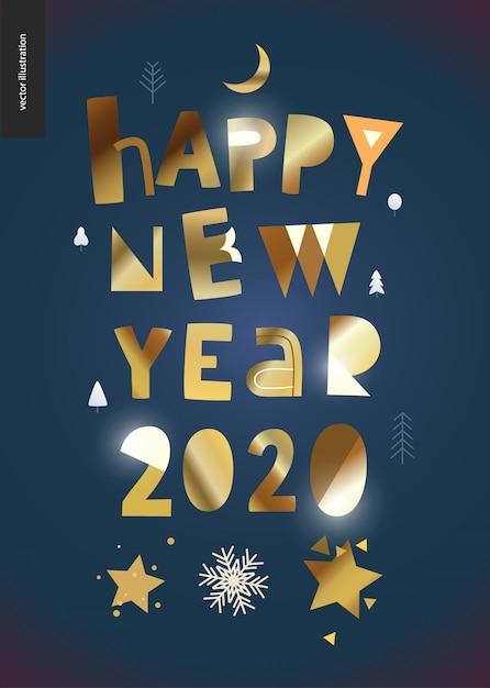 Bonne Année 2020 Carte De Voeux D'or Vecteur Premium